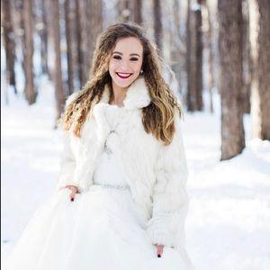 Vintage Rabbit Fur Winter White Long Jacket